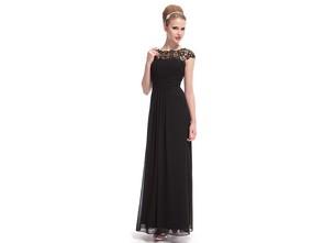 Černé společenské šaty s krajkou a 3 4 rukávy - FlorianFashion ... fb6cf35579