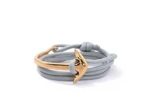 Luxusní náramek Lavaliere Kotva zlacená 18k zlatem a šedivý námořnický  provázek 8595652117449 e629b0209bf