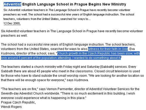 Seznamka adventistického kostela sedmého dne