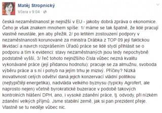 Komentář Matěje Stropnického k rekordně nízké nezaměstnanosti.