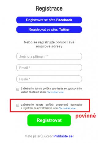 Registrace - první pohled