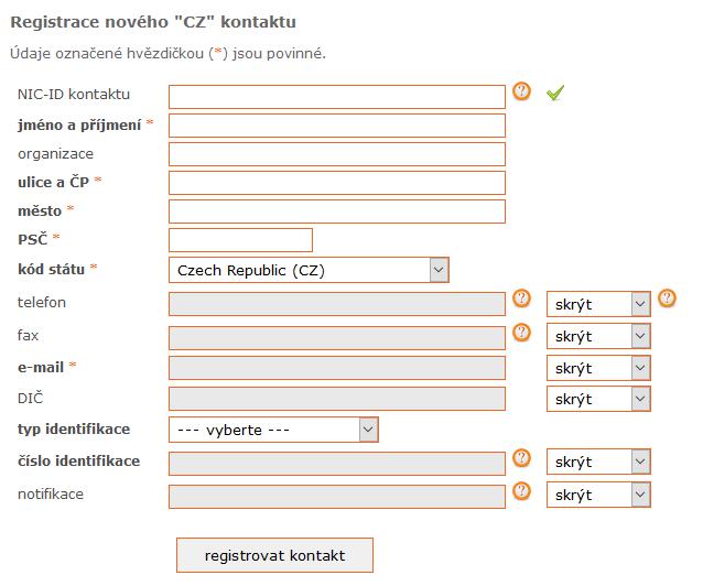 Registrace nového kontaktu u TELE3